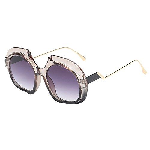 WUDUBE_Sonnenbrille mit runder Sonnenbrille Sonnenbrille, grau-Schwarze Brille im europäischen und amerikanischen ()