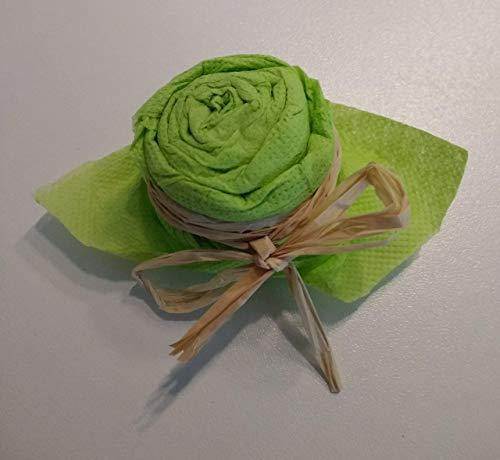 Servietten Rosen mit Schleife, 6er Set zum Geburtstag, Hochzeit, Taufe, Kommunion, Konfirmation, Gartenparty oder als nettes Geschenk -