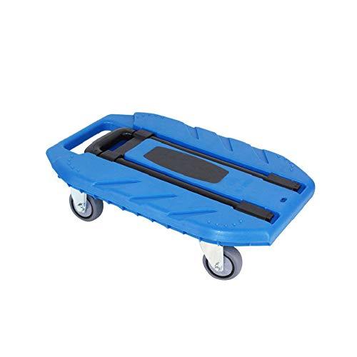 QIANGGAO Tragbarer 4-Rad-Kleinen Anhänger, 400KG Kapazität Vier-Rad-Faltplattform-LKW-Flachbett-kleines Push-Auto schweres König-Zugstange-Auto-Trolley-Wagen-faltender Wagen,Blue