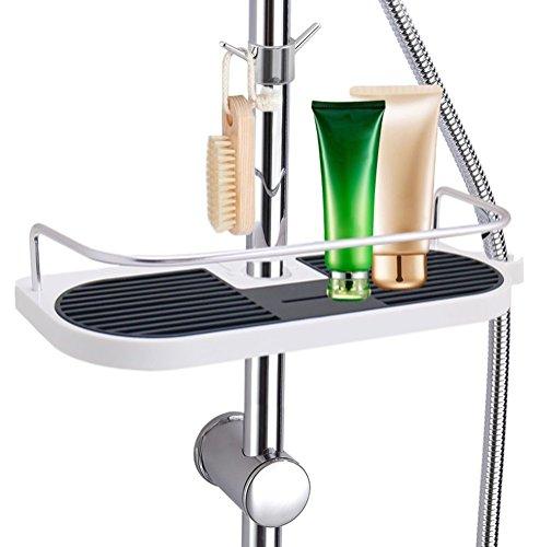 Marbeine Universal-Tablet, Seifenschale, Teleskop-Duschregal, verstellbar, mit 2 Handtuchhaken, Aluminiumlegierung, Montage ohne Bohren, Aufbewahrung für Shampoo und Seife im Badezimmer, 19-25mm.