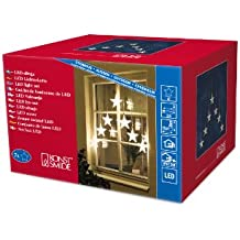 Konstsmide 1243-103 - Luces LED decorativas en forma de estrella (7 luces, 35 diodos blancos, transformador externo de 24 V, cable transparente)