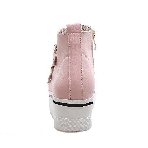 AgooLar Damen Reißverschluss PU Mittler Absatz Rund Zehe Stiefel, Pink, 37