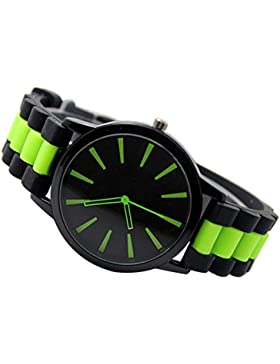Einfach Unisex Damen Herren Silikon Armband Jellyfarben Gel Quarz Analog Sportuhr Armbanduhr Grün