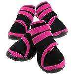 ENET 4PCS Pet Dog Protective Rain Boots Waterproof Shoes Anti Slip Pink L