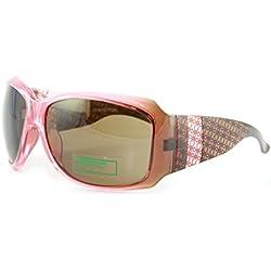 United Colors of Benetton Sonnenbrille BE 56003 - Rosa mit tarotmuster auf den Bügeln und braunen Gläsern