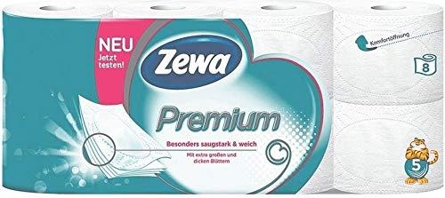 Besonders weiches Premium Marken Toilettenpapier in 5-lagiger Ausführung. 8 Rollen zu je 110 Blatt in der Umverpackung. 880 Blatt