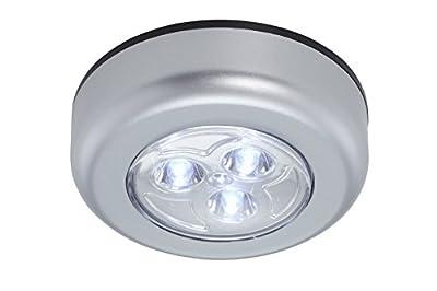 Briloner Leuchten 2633-054, LED Unterbauleuchte, Unterbaulampe 5er Set, kabellos, inkl. Klebepads, an/aus durch Drückfunktion, Schrankbeleuchtung, batteriebetrieben, Ø6.8cm, Kunststoff, titanfarbig von Briloner Leuchten