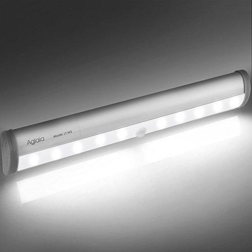 Aglaia Lámpara LED del Armario, 10 LEDs Barra de Luz Inalámbrica con Sensor de Movimiento, Blanco Frío y Operada por 4 AAA Baterías para Gabinete Aparador