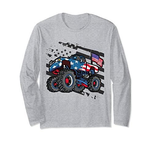 American Flag Trucker- Men Women Boys Monster Truck Racing  Langarmshirt