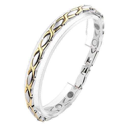 JOVIVI Schmuck Damen Edelstahl Magnetarmband Olive X Form 4-in-1 Magnettherapie Armband Magnetisches Armreif Silber+Gold 20cm