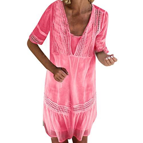 B-commerce Frauen Spitze Patchwork Lose BeiläUfige Mini Baumwolle Und Leinen Dress V-Ausschnitt Mid Dress Strand Feste Kurzarm Eine Linie Dress FüR Damen