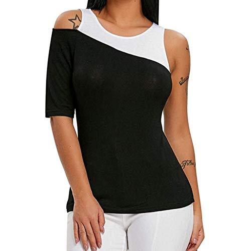 Oberteile Damen Sommer Mode Tunika Casual Tops Kurzarm Slim Fit Festlich Classic Vintage T-Shirts Mischfarben Rundhals One Shoulder Kurzarm T-Shirt Shirt (Color : Schwarz, Size : M)