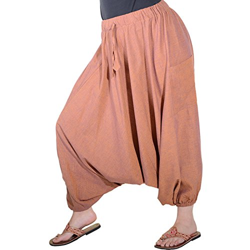 Kunst und Magie Damen Orientalische Haremshose Pumphose Shalwar Hose Muck Aladinhose Hosenrock Lachs