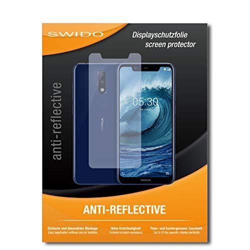 SWIDO Schutzfolie für Nokia 5.1 Plus [2 Stück] Anti-Reflex MATT Entspiegelnd, Hoher Härtegrad, Schutz vor Kratzer/Bildschirmschutz, Bildschirmschutzfolie, Panzerglas-Folie