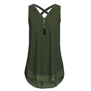 Flying Rabbit Damen Shirt Chiffon Bluse Langarmshirt mit Reißverschluss Vorne V-Ausschnitt Tops T-Shirt ...