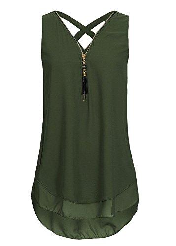 Flying Rabbit Damen Shirt Chiffon Bluse Langarmshirt mit Reißverschluss Vorne V-Ausschnitt Tops T-Shirt, Grün, XXL -