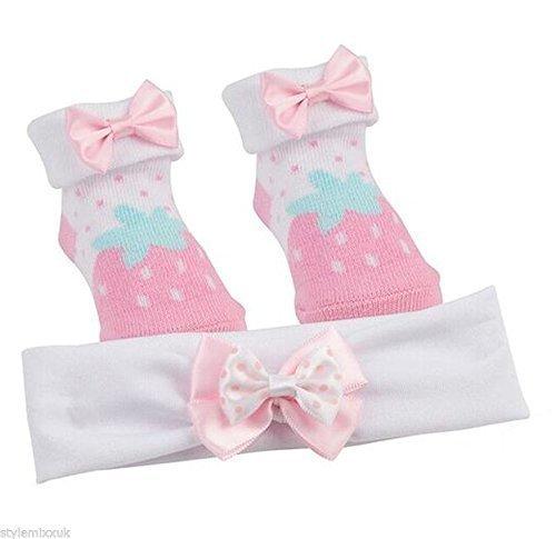 BABYTOWN neonati bambini doccia Fragola Bow Booties Sock fascia Set regalo rosso PINK STRAWBERRY10C116 6-12 (Bow Calzini)