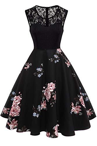 Axoe Damen 50er Jahre Rockabilly Kleid mit Blumenmuster Ärmellos, Farbe04, XXXL (48 EU)