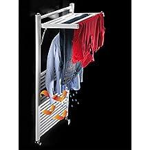KOH-I-NOOR 44020B - Radiador, calienta toallas y secador de ropa con 1 estante de difusor extensible MOBILE Hidráulico. Acabado blanco.