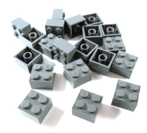 "20 Stück LEGO \""Stein 2x2 Noppen\"" in Neu-Dunkelgrau."