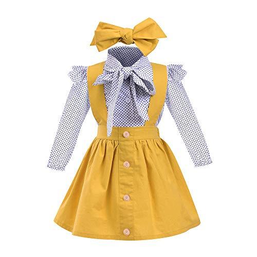 Bébé Vêtements, Mamum 3pcs enfant en bas âge bébé filles points d'impression tops t-shirt sangle jupe tenues ensemble (80(12Mois))