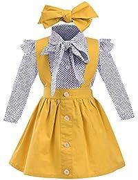 beautyjourney 3 Piezas Bebé Niña Elegante Ropa Blusa de Manga Larga Delgada con Estampado de Puntos Camisa + Falda de la Correa + Banda para el Cabello Conjunto de Trajes