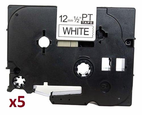5 x TZe231 12mm x 8m Schriftbandkassetten Schwarz auf weiß Etikettenband kompatibel zu Brother P-Touch PT-1000 1005 1010 3600 D200 D210 D210VP D600VP E100 E550WVP H101C H105 H110 H300 H500 P700 P750W