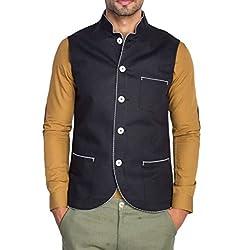 Mr Buttons Mens Slim Fit Nehru Jacket 70021-XL_Black_X-Large