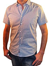 Camicia Fantasia Uomo Mezza Manica Slim Fit Collo Elastico Tessuto Jacquard