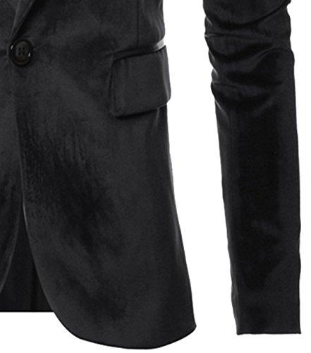 DD UP Hommes Coton col V Slim Fit Casual Button Manche Longue Robes Blazer Costume Black