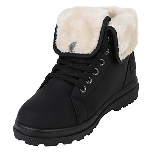 Stiefelparadies Damen Stiefeletten Warm Gefütterte Worker Boots Outdoor Schuhe Flandell Schwarz Schnallen Schnallen
