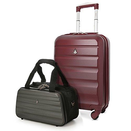 Aerolite 55x35x20cm 35L Leichtgewicht 4 Räder ABS Hartschale Koffer + Ryanair 35x20x20cm Tasche Maximale Handgepäck Größe, Koffer (Weinrot) + Tasche (Schwarz/Grau)