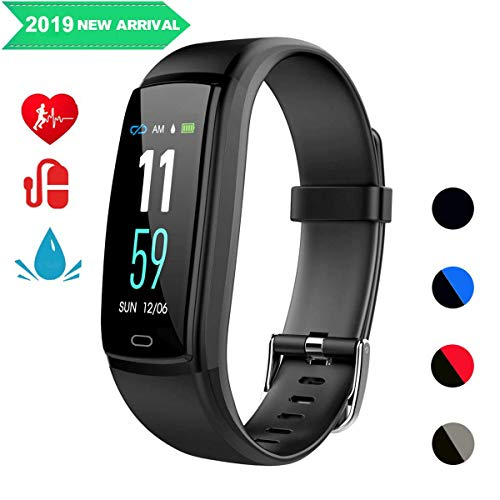 r, Smart Watch Aktivitäts-Tracker Sportband Armband Wasserdichtes Bluetooth-Armband mit Pulsmesser Schrittzähler Schlaf-Monitor Kalorienschrittzähler Blutdruck (Schwarz) ()