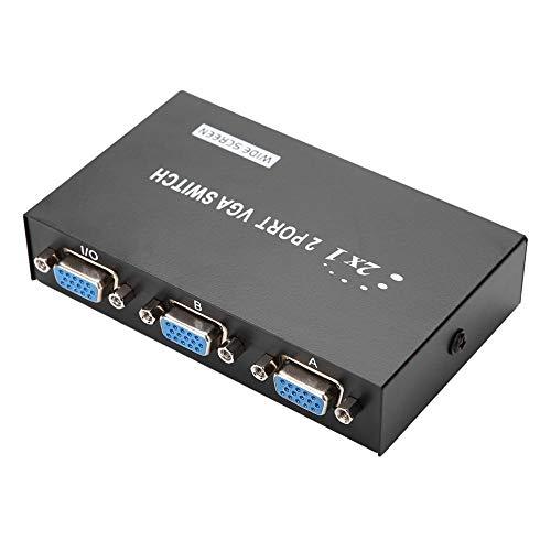 ASHATA VGA Splitter Verteiler, 2 Port 2 in 1 Out VGA Switcher Splitter Datensynchronisation VGA Monitor Switch VGA Verteiler,Unterstützt VGA- XVGA- SVGA- UXGA-Display für PC Computer usw.