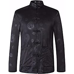 Jeansian Camisa negr Casual para Hombre motivos de dragon