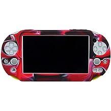 Pandaren® Cubierta de silicona cover funda protectora (camuflaje rojo) para PS Vita slim PSV 2000