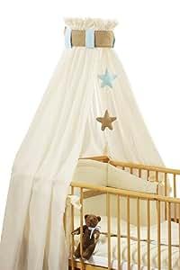 """Christiane Wegner Parure de lit """"Cappuccino"""" pour lit 70 x 140 cm, inclut ciel de lit et son mobile, tour de lit, drap 100 x 135 cm et Coussin 40 x 60 cm"""