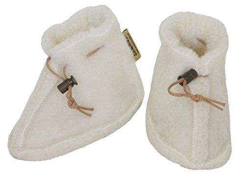 SamWo Babyschuhe 100% natürliche Schafwolle mit Schnellverschluss, Größe: S natur natur