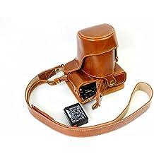 Protección completa inferior abertura de la caja Versión PU de protección de la cámara del bolso de cuero con el trípode Diseño compatible para FUJIFILM Fuji X Serie X - A2 XA2 con 18 - Lente de 55mm / 16 - 50 mm de la lente con la correa del cuello del hombro de la correa de Brown