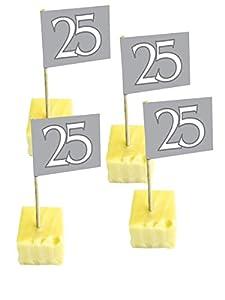 50 Pinchos para Fiesta (25 Unidades), Color Plateado