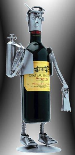 Boystoys HK Design Weinflaschenhalter Taucher - Metall Art Weinflaschen-Deko Anglergeschenke -...