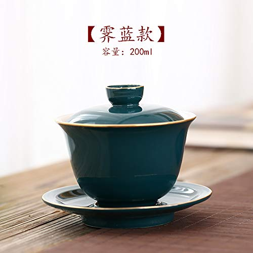 XLCLSA asda Cinnabar doré Rouge Trois Bols Tasses Grand Ensemble de thé 200ml Bol de Couverture personnalisé Bol à thé thé Or 霁 Bleu [200ml]