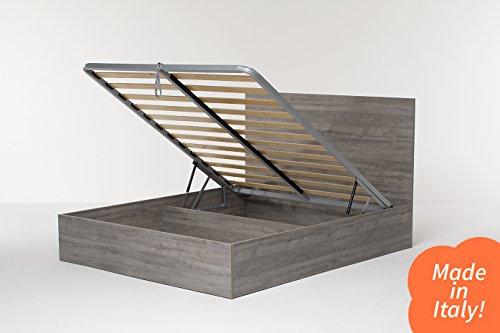 Cangù hi box letto contenitore, rovere grigio, 160 x 190 matrimoniale
