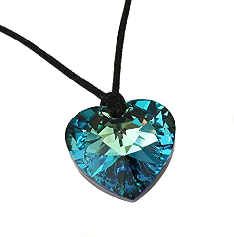 Large 28mm Bermuda Blue (Turquoise and dark Blue Mix) Heart Crystal Pendant from Swarovski on Black Cotton Necklace with Sterling Silver