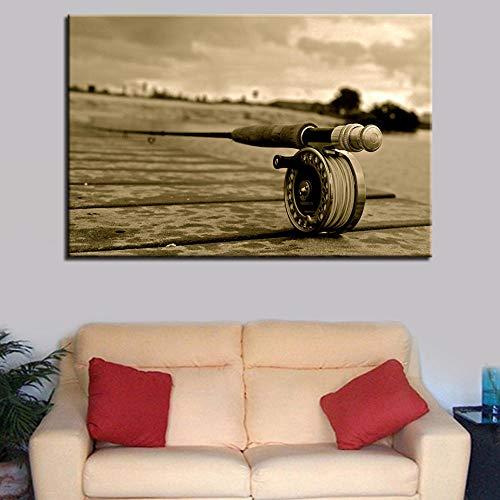 Cyalla Dekor Gedruckt Modulare Poster Bilder Malerei 1 Stück Angelrute Moderne Leinwand Wohnzimmer Rahmen Hd Home Wandkunst-50X70Cm
