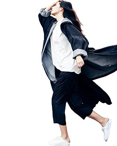 Landove Damen Jeansjacke mit Kapuze Vintage Denim Jacke Große Größen Trenchcoat Windbreaker Lang Mantel Blazer (One Size, Schwarz) (Sport Jacke Schwarz Blazer Mantel)