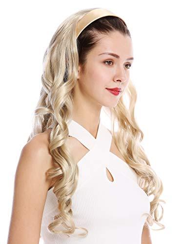 Wig me up ® - tyw60871h-22 mezza parrucca toupet cerchietto fascetta capelli biondo cenere biondo ricci molto lunghi 70 cm