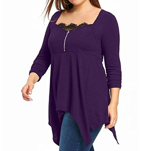 Tonsee® Grande Taille Femmes Dames Zipper Dentelle T-shirt À Manches Longues Blouse Violet