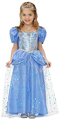 Widmann 68986 - Kinderkostüm Prinzessin Fee Kleid, Gröߟe 128, blau