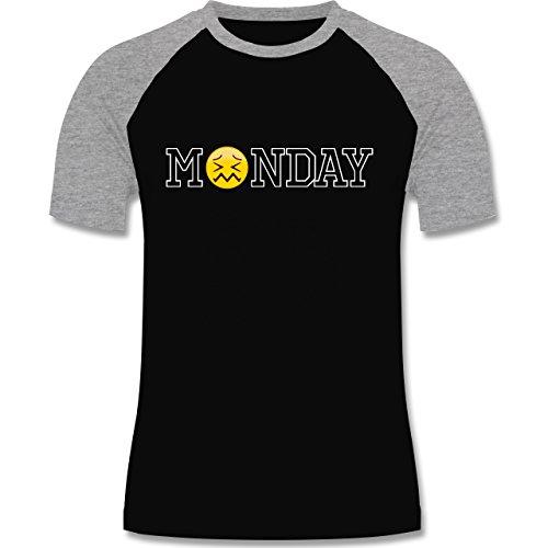 Statement Shirts - Monday Emoji - zweifarbiges Baseballshirt für Männer Schwarz/Grau Meliert